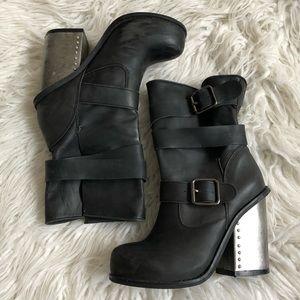 Jeffrey Campbell Metal Heel Buckle Strap Boots